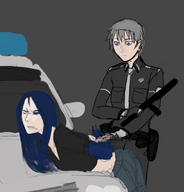 238 arcp blue_eyes blue_hair einheit12(artist) grey_hair police secret_santa secret_santa_2015 sketch staegr // 800x834 // 111.0KB // $artist