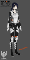 arcadian_flag arcp blue_hair concept female police red_eyes replikant robot robot_girl rosenthal tattoo uniform // 1000x2000 // 570.1KB // $artist