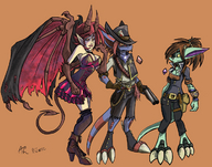 ace black_sclera brown_hair cheyan cleavage concept gun hat horns lizard overknees purple_eyes red_eyes red_hair ridley round_30 runic(artist) tail varachian wild_west wings yellow_sclera // 1230x966 // 231.4KB // $artist