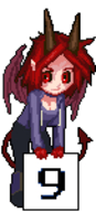 black_sclera chibi cleavage five(artist) horns number_girls pixel_art red_eyes red_hair ridley tail varachian wings // 68x150 // 2.4KB // $artist