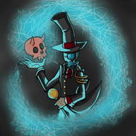 cyborg_necromancer horns magic patentpending(artist) secret_santa secret_santa_2015 skull top_hat walking_stick // 800x800 // 663.8KB // $artist