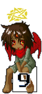 black_sclera chibi five(artist) halo lucy number_girls pixel_art red_eyes scarf three_eyes wings // 68x150 // 2.3KB // $artist