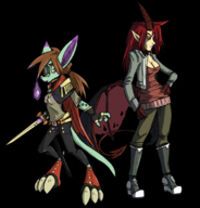 black_sclera brown_hair cheyan cleavage horns lizard orange_eyes purple_eyes red_hair ridley round_32 runic(artist) sword tail varachian wings // 720x750 // 362.3KB // $artist