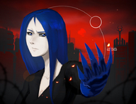 238 black_sclera blue_eyes blue_hair celestial_tower demon einheit12(artist) grey_sclera portrait secret_santa secret_santa_2015 // 918x700 // 250.5KB // $artist