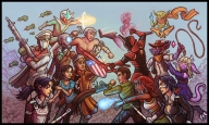 abendstern absolutely_everyone ace admiral_stein adrian_selas aine astorite ben(artist) ceres_leblanc cyborg_necromancer fight gun jake kensington loki magic punch rannesanque rosenthal scarf secret_santa secret_santa_2017 shield soraya special_attack sword thatone whip zombie // 1120x673 // 549.3KB // $artist