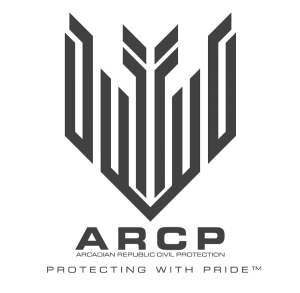 "The new ARCP Logo, showing the stylized Celestial Tower and Arcadian Parliament shaped like a shield and the ARCP's slogan ""Protecting with Pride""."