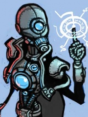 The Cyborg Necromancer working his arcane sorcery.