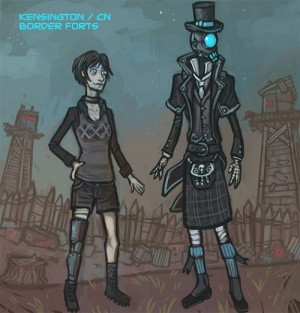 Kensington and the Cyborg Necromancer at the border forts. (Drawn by Ben)